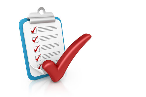Blue clipboard with itemized checklist and red checkmarks