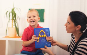 Boy with Speech Therapist