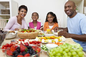 family eating healthy foods