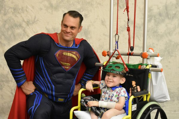 Image for Superheroes drop by Dell Children's for the day